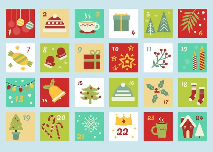 Advent Calendar Template Vector.