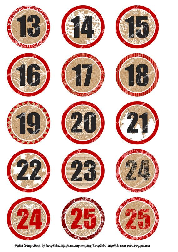 Printable DECEMBER DAILY NUMBERS, 1 and 2 inch circles.