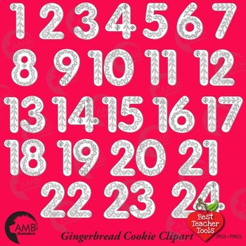 Christmas Gingerbread Numbers DIGITAL STAMPS, Advent Calendar, AMB.