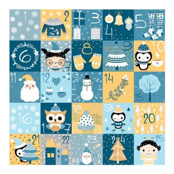 Christmas advent calendar, Advent numbers, Christmas countdown calendar.