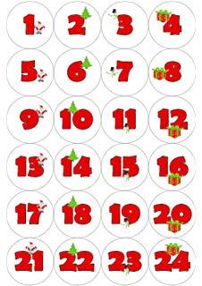 24 Christmas Advent Calendar Stickers.