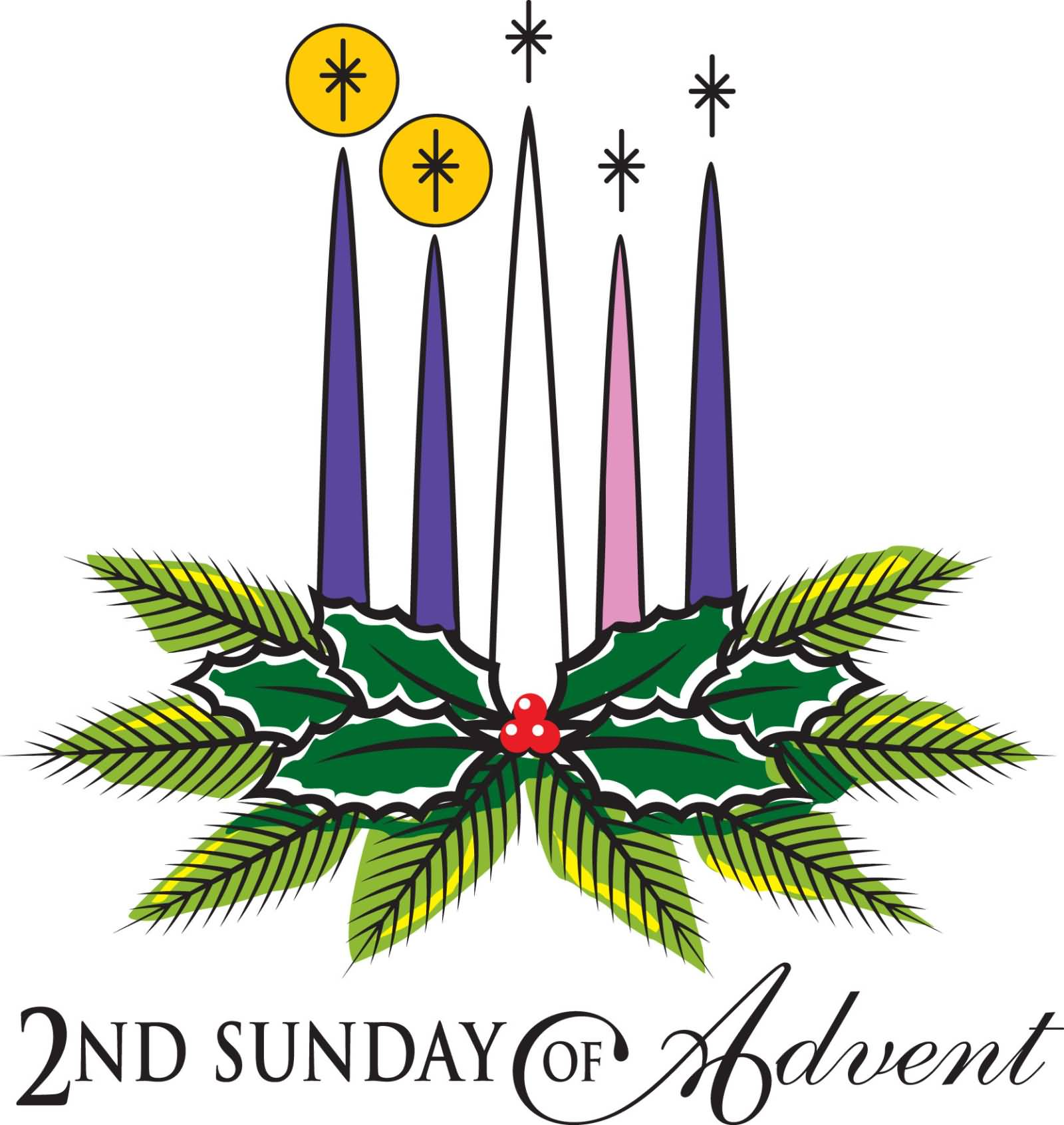 Second Sunday Of Advent Lighting Candles Clipart.