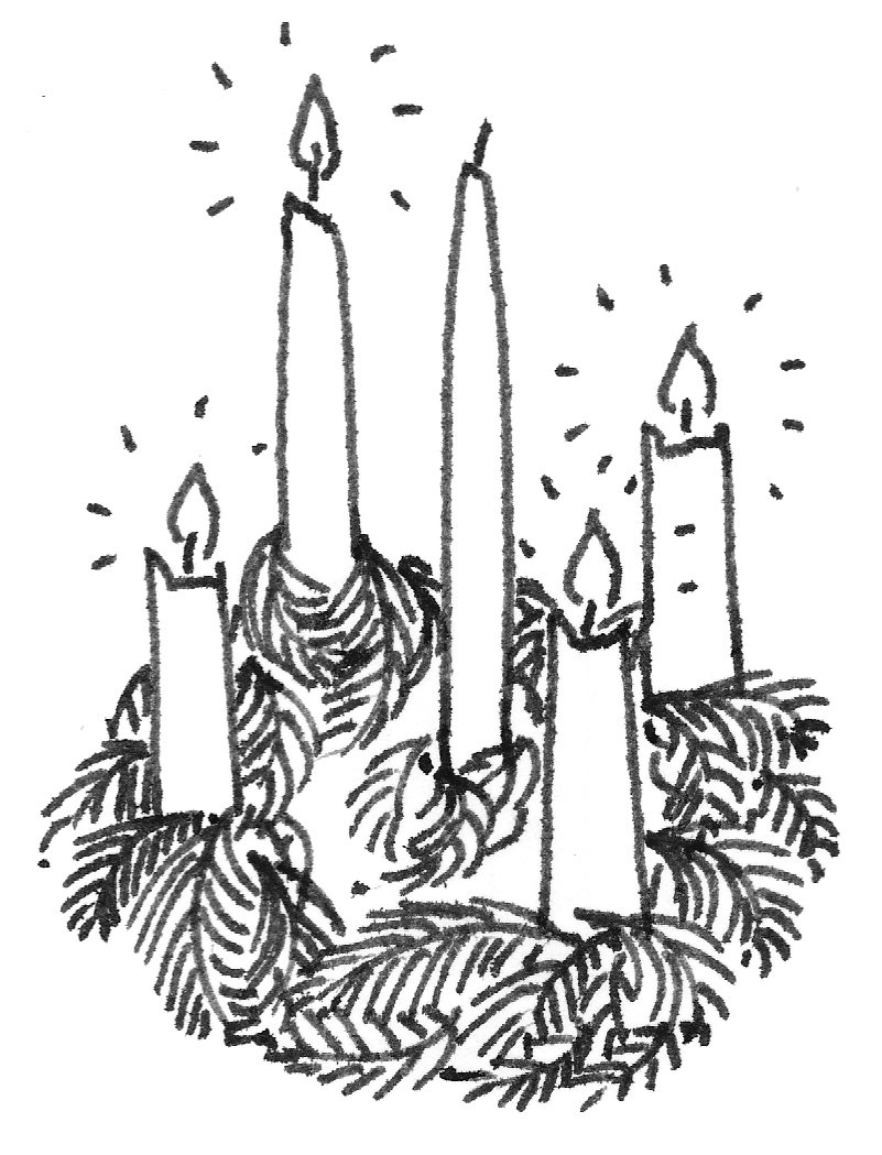 Black and white advent candle clip art.