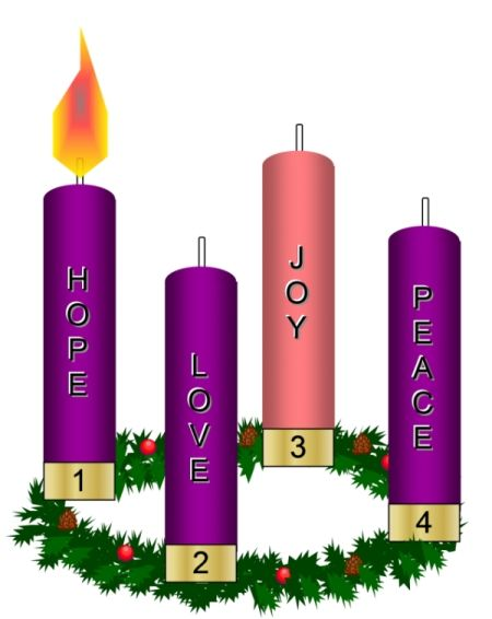 Hope Advent Candles Clipart.