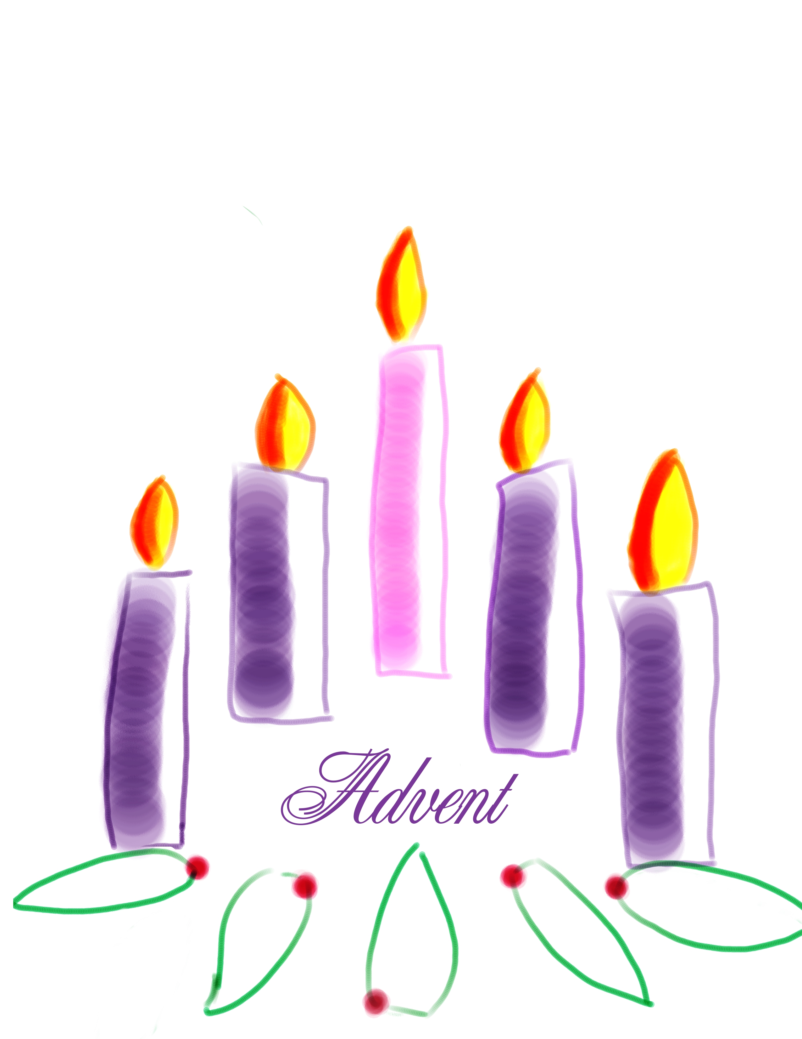 Last Candle Of Advent Clipart.