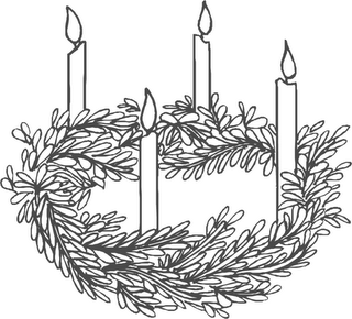 Advent wreath. Clipart black and white