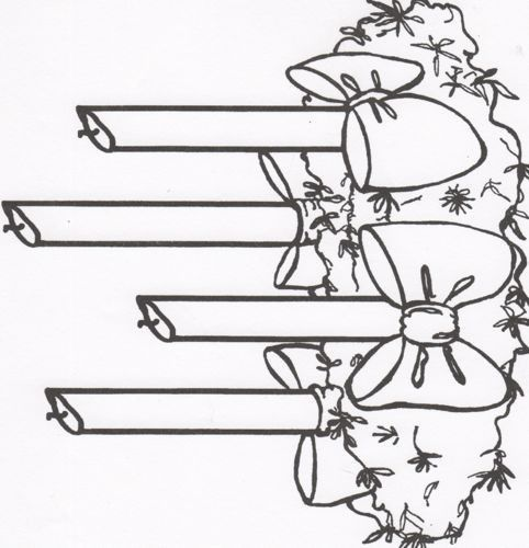 Imgs For > Advent Wreath Clipart Black And White.