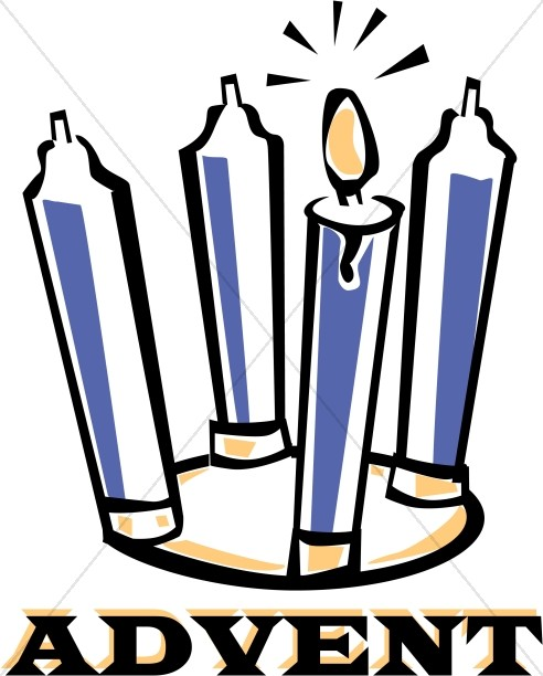 Colored Advent Candles Word Art.