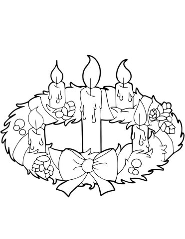 Advent Wreath and Candles coloring page.
