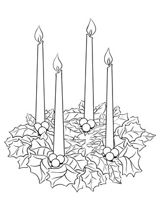 Click Advent Wreath Coloring page for printable version.