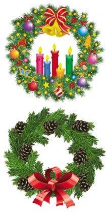 christmas wreath 1 vector.