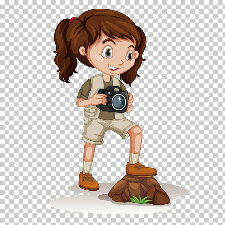 Cartoon Girl Adventure, Girl holding a camera PNG clipart.