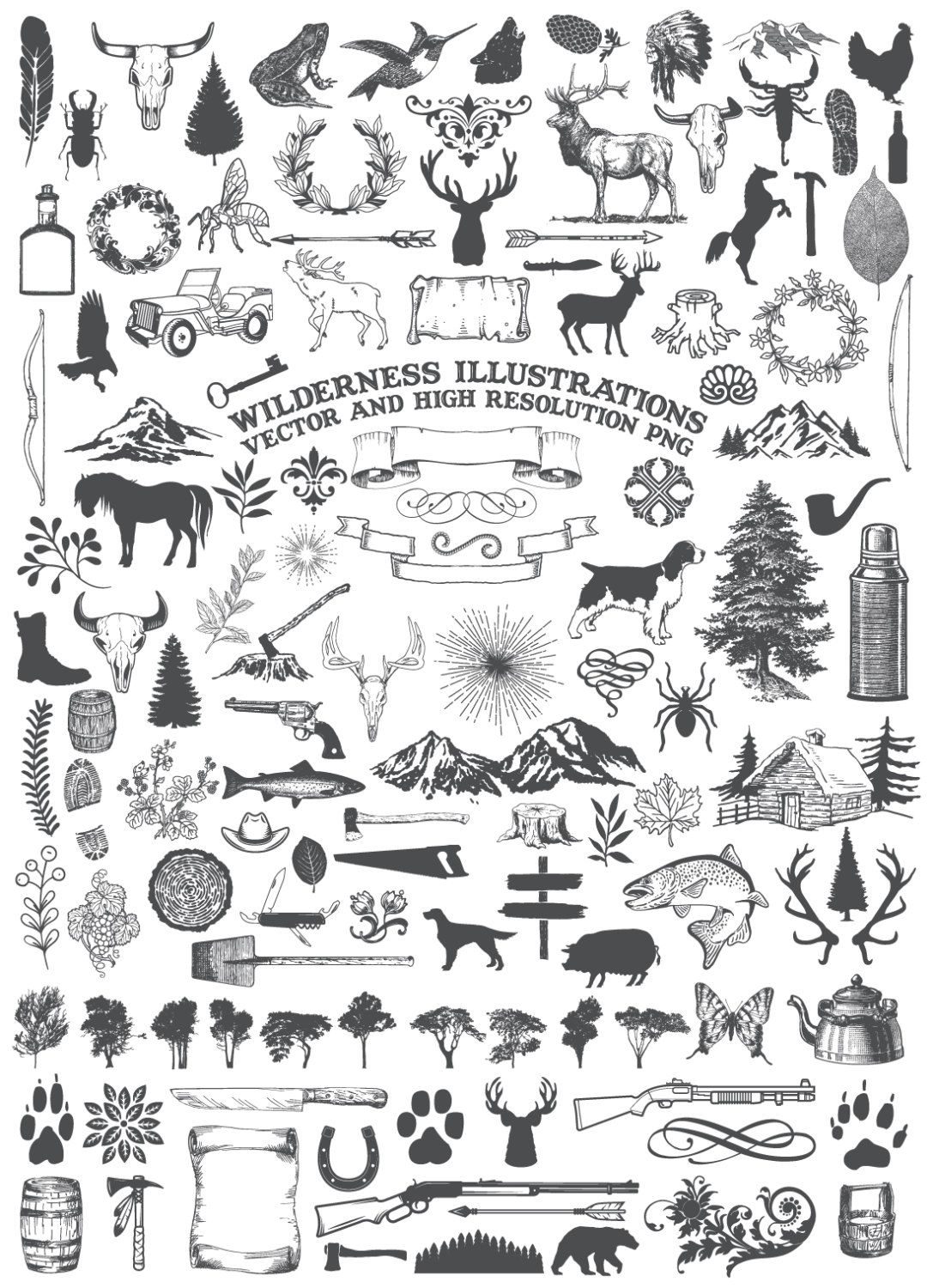 Camping Clipart Animal Clipart Nature Rustic Adventure.
