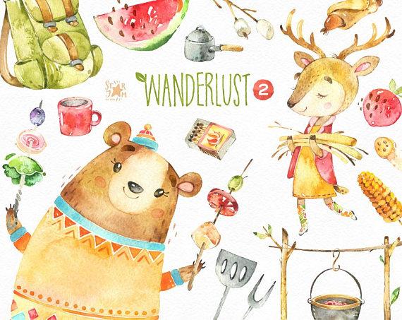 Wanderlust 2. Picnic. Watercolor animals clipart, bear, food.