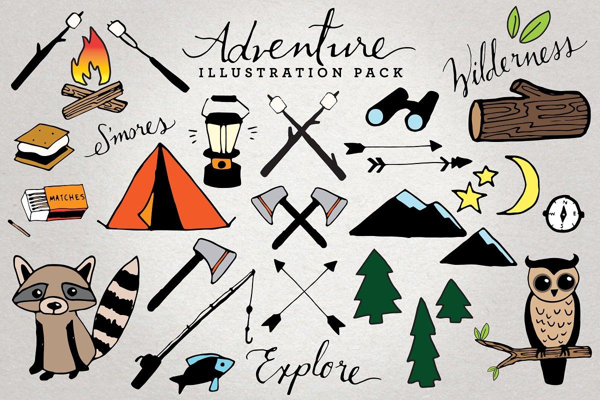 Adventure & Camping Illustration Set.