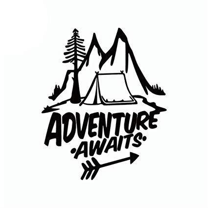 Amazon.com: Adventure Awaits Outdoors Logo Vinyl Window Auto Truck.