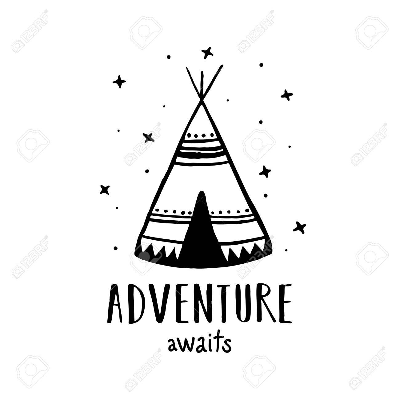 Adventure awaits Scandinavian style hand drawn poster. Vector...