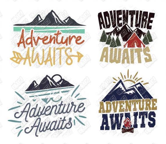 Adventure Awaits SVG dxf eps jpeg png format layered cutting files clipart  screen print die cut decal vinyl cutter cricut silhouette.