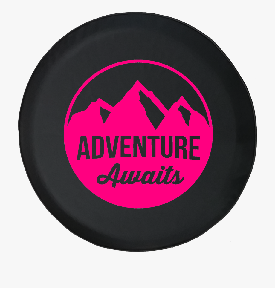 Adventure Awaits Mountain Scene Stamp Style Offroad.