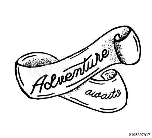 Adventure awaits. Hand drawn sketch ribbon. Old style banner.