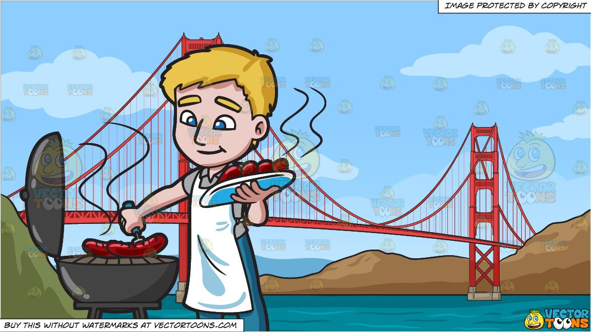 A Man Grilling Hot Dogs and The Golden Gate Bridge Background.