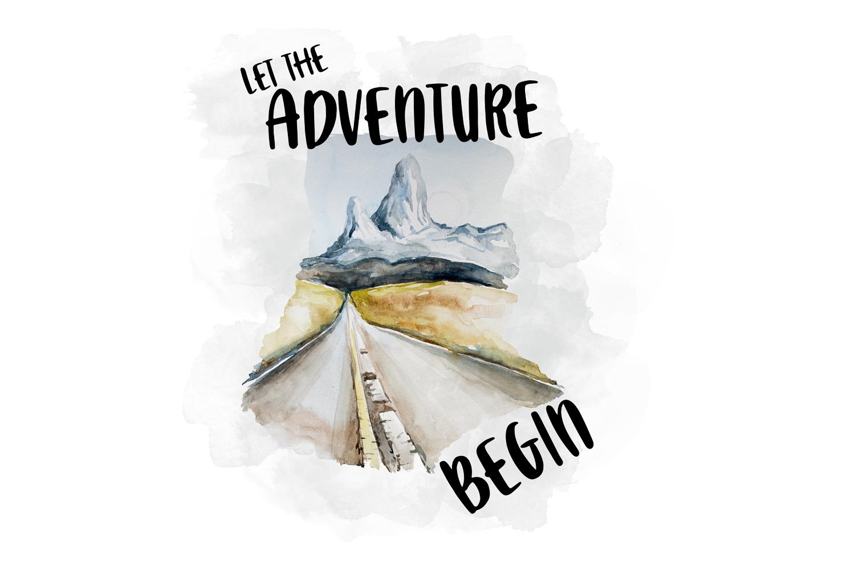 Let The Adventure Begin, Watercolor Clipart.