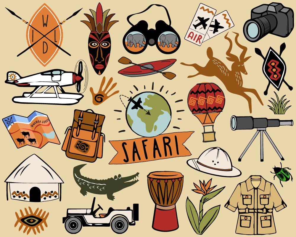 Safari Clipart, travel clipart, African safari clip art, hiking.
