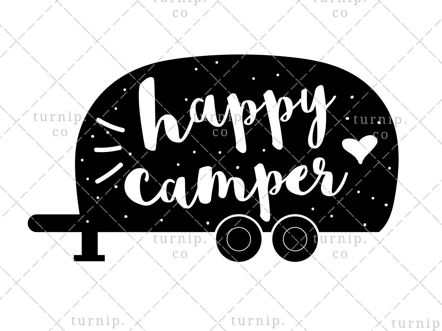 Happy Camper PNG Sublimation Graphic In Black And White by.