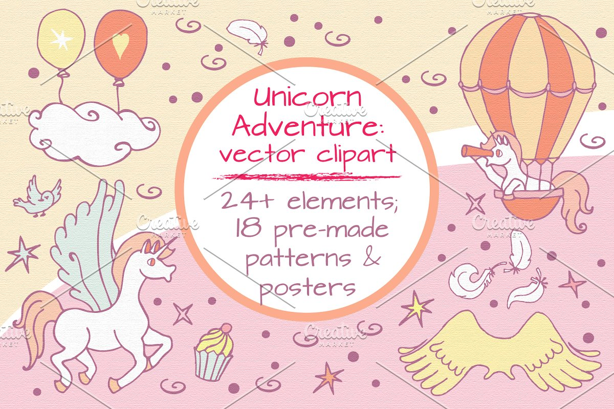 Unicorn Adventure: vector clipart ~ Illustrations ~ Creative.