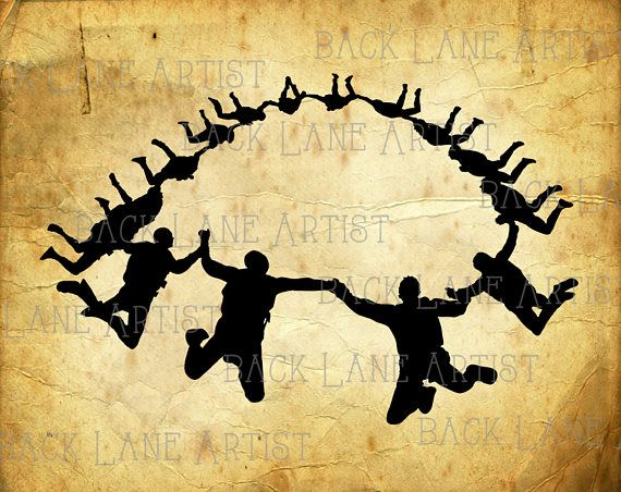 Team Group Skydiver Skydiving Adventure Silhouette Clipart.