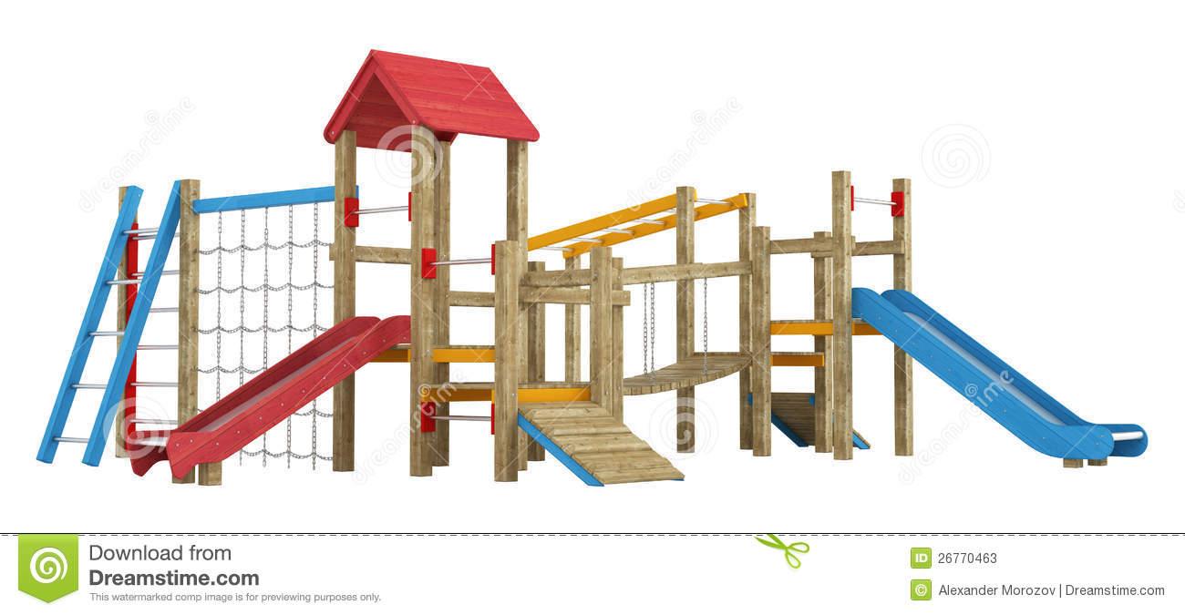Playground Apparatus With Slides Stock Photos.