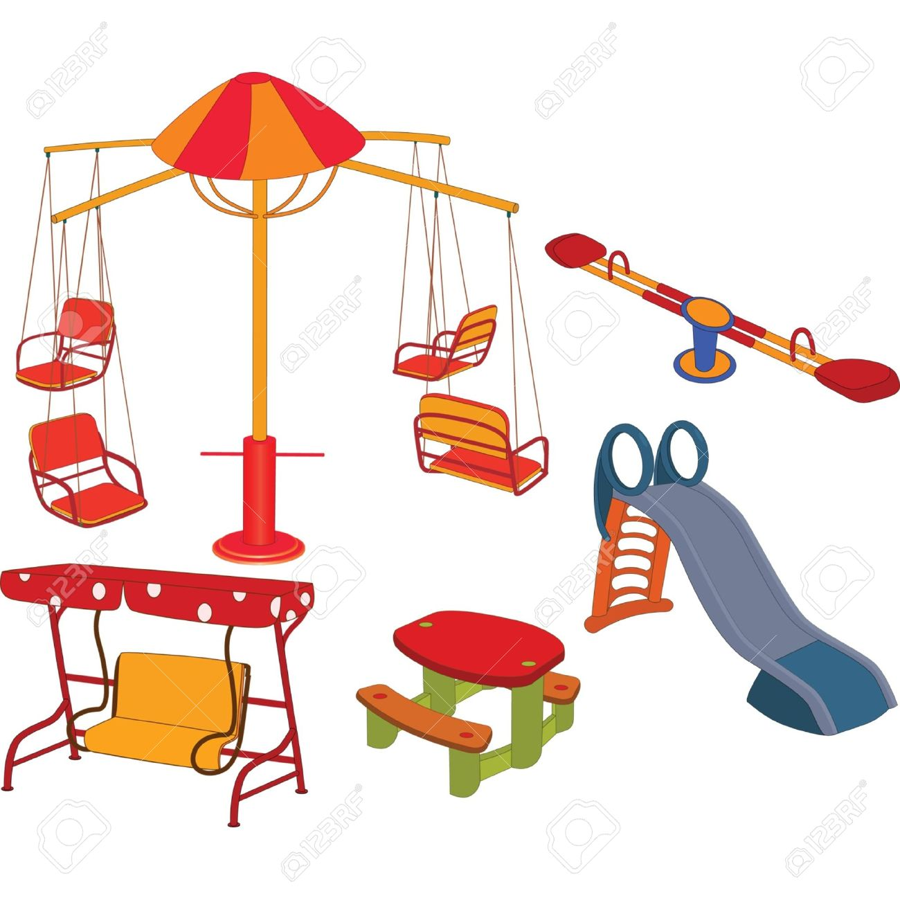 The Complete Set A Children's Swing. Clip Art Royalty Free.