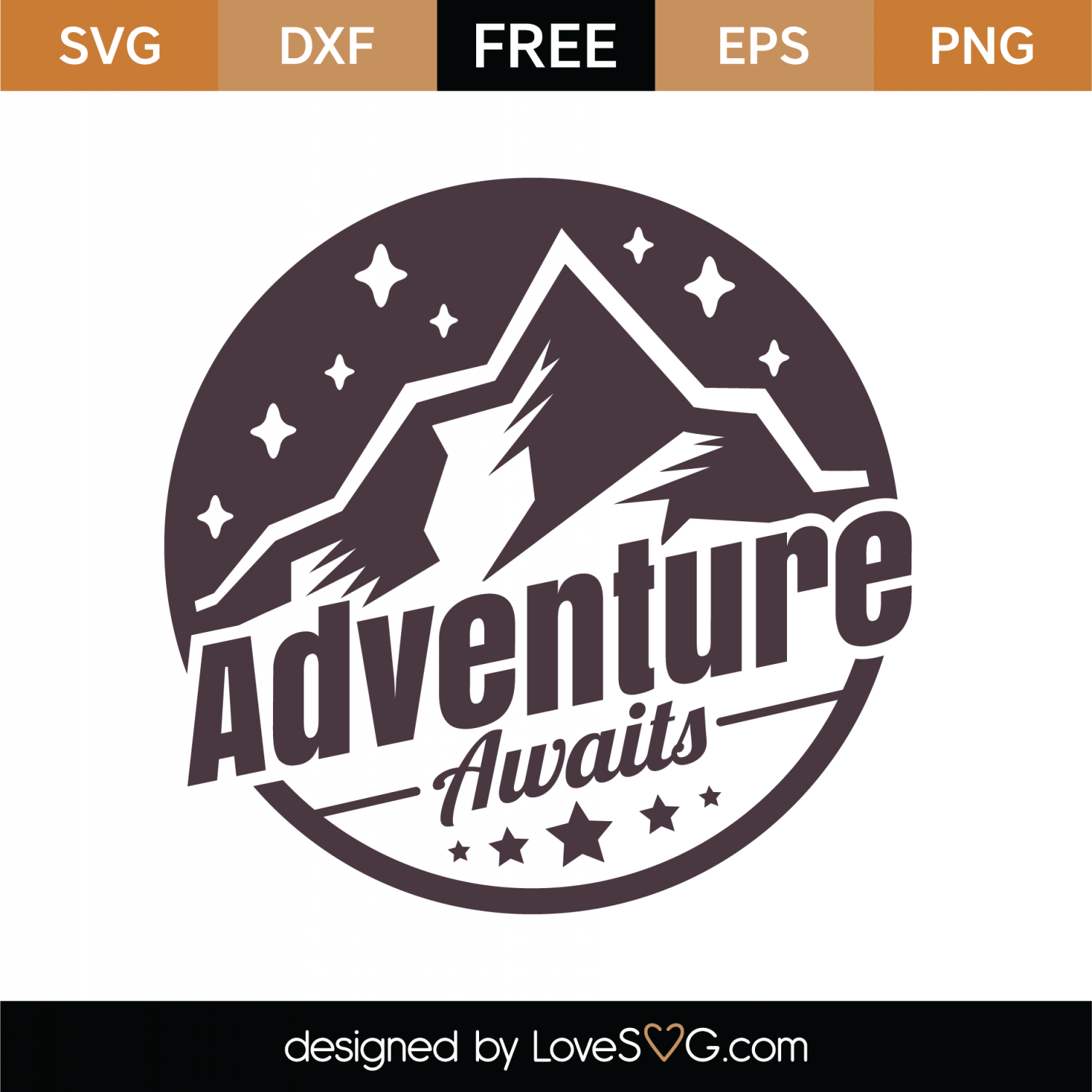 Free Adventure Awaits SVG Cut File.