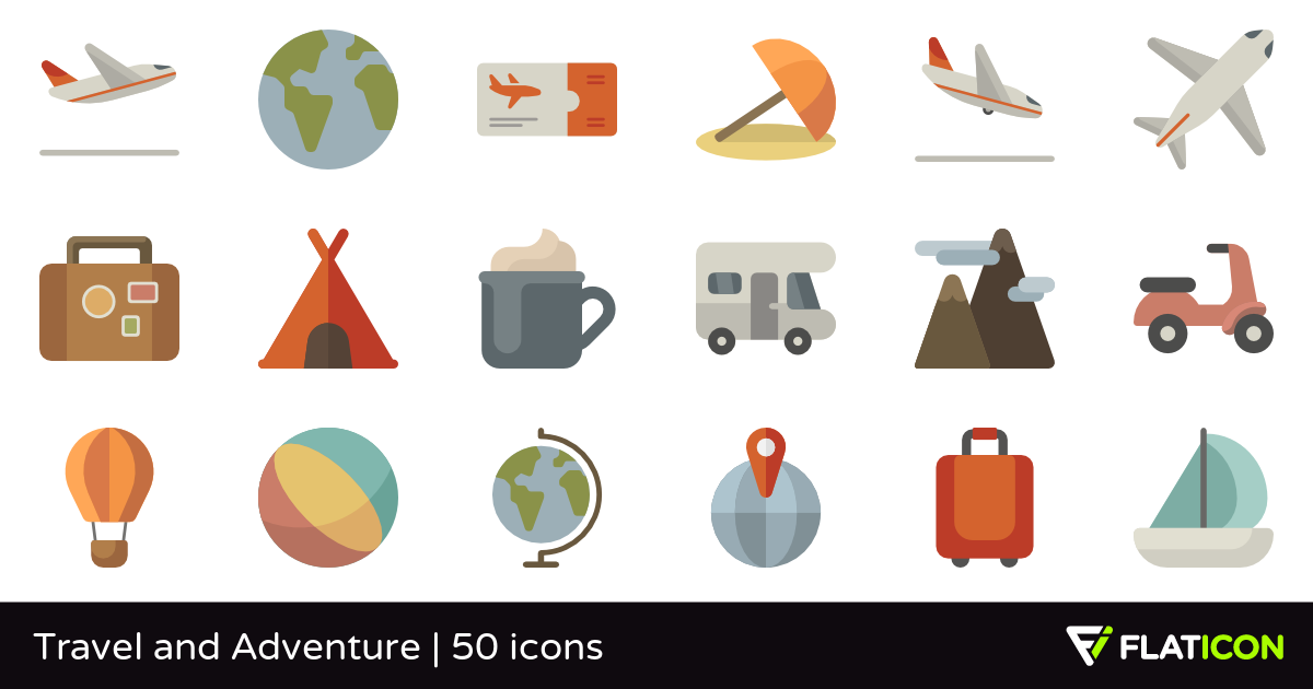 Travel and Adventure 50 free icons (SVG, EPS, PSD, PNG files).