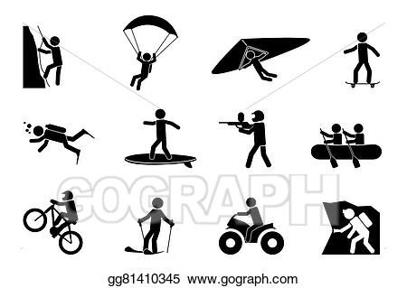 Extreme sports or adventure icons.