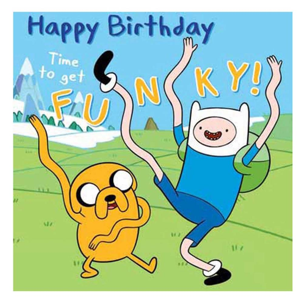 Time To Get Funky Adventure Time Birthday Card.