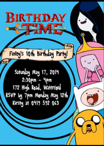 Adventure Time Party Invitation.