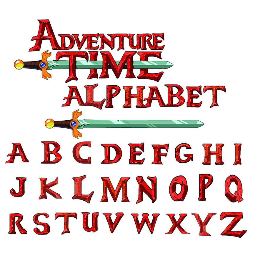 Adventure time alphabet PSD styles free download.