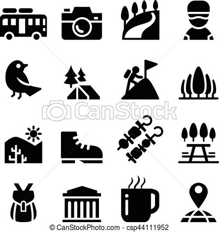 Tourism , travel , Adventure , Discovery , camping , Trail icon set.
