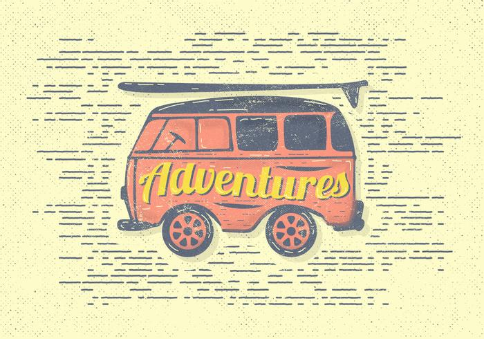 Free Vintage Adventures Van Vector Illustration.