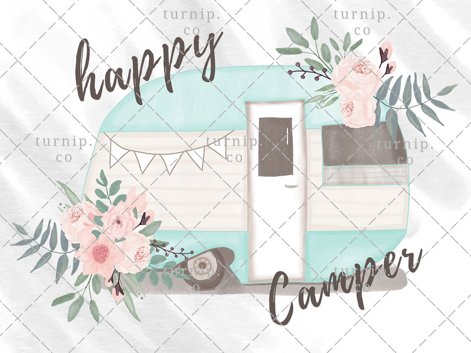 Watercolor Happy Camper Clipart PNG Sublimation Graphics by.