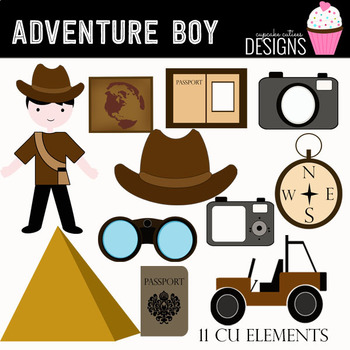 Adventure Boy Digital Clip Art Elements.