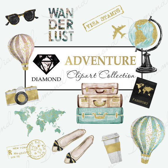 Adventure Clipart Travel Clipart World map by DiamondDigitalPapers.