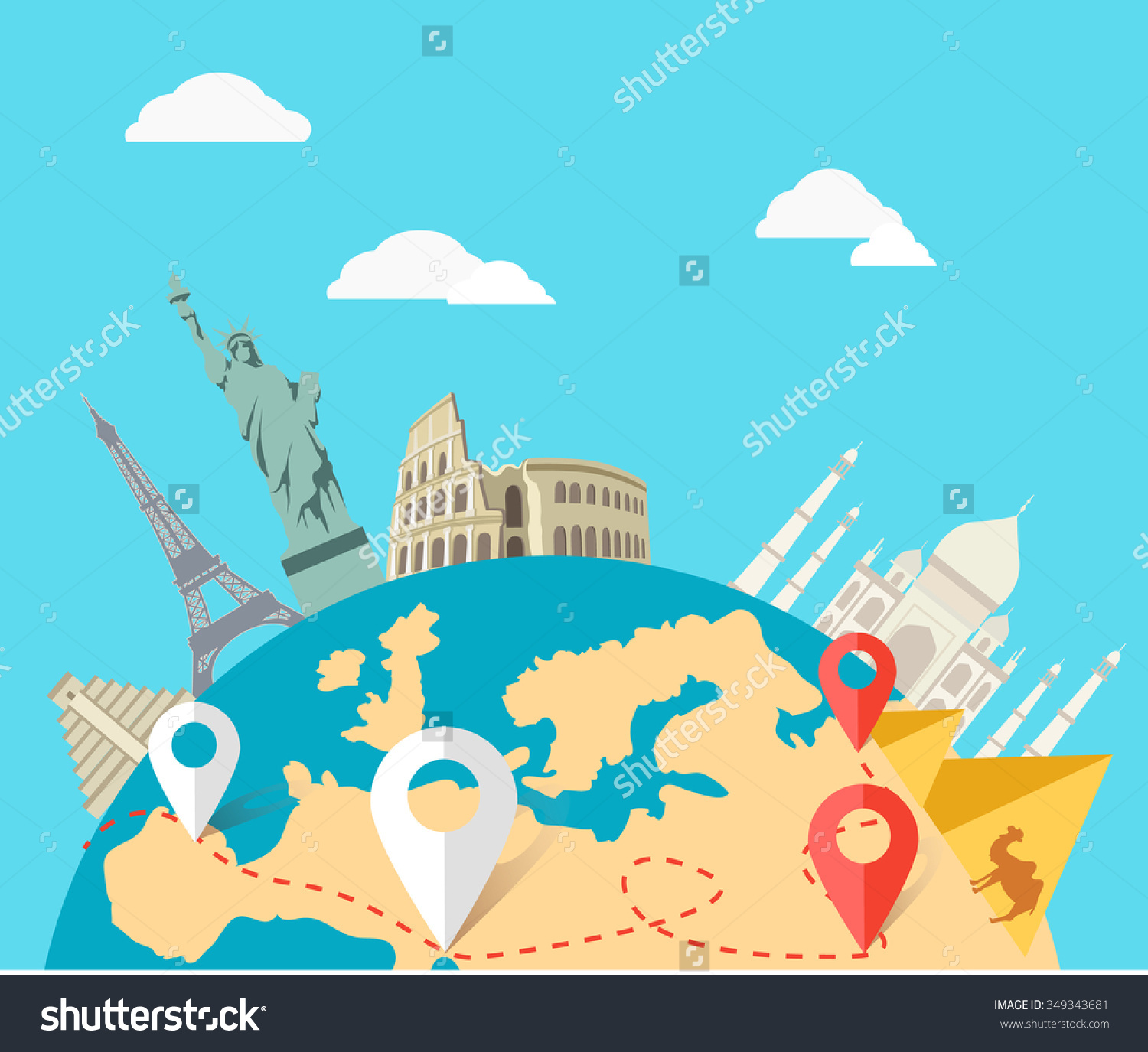World Adventure Travel Relaxation Journey Leisure Stock Vector.