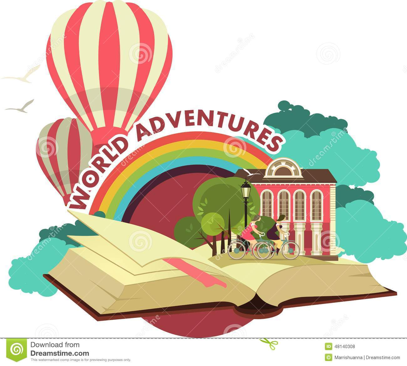 Adventure Book Clipart Open Trip To Fabulous Worlds Emblem Stock.