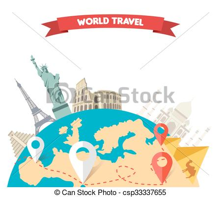Clipart Vector of World Adventure Travel.