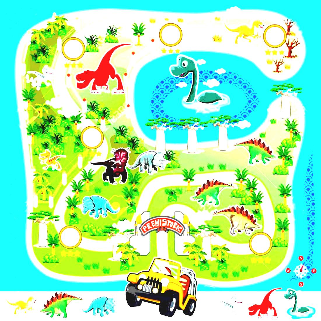 Zoo Adventure And Game Stock Free Vector Map Prehistoric Dinosaur.