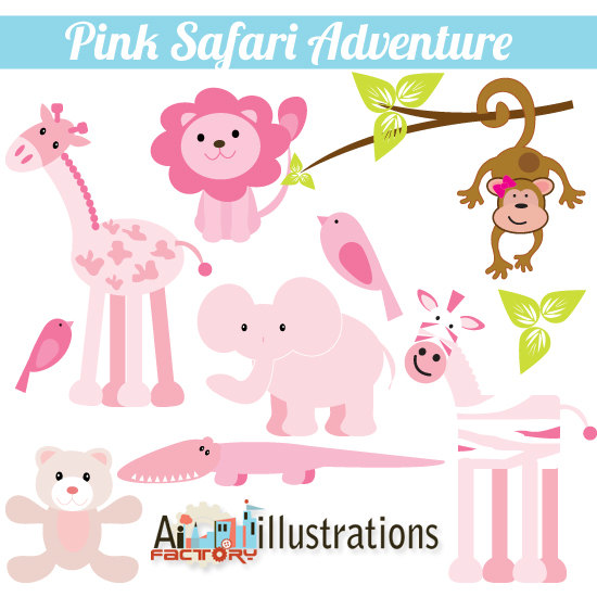Pink Safari zoo Animals Adventure.