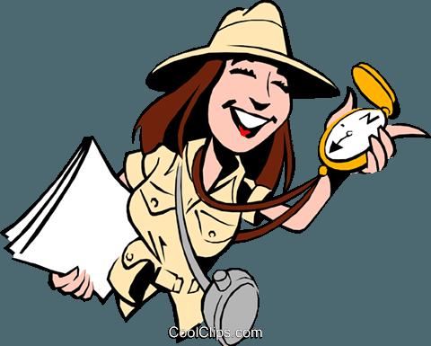 Cartoon female adventurer Royalty Free Vector Clip Art.
