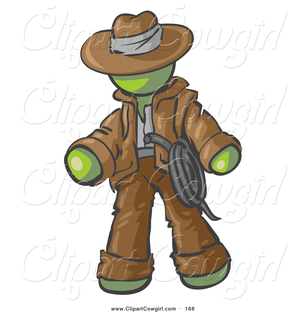 Clipart of a Green Cowboy Adventurer by Leo Blanchette.